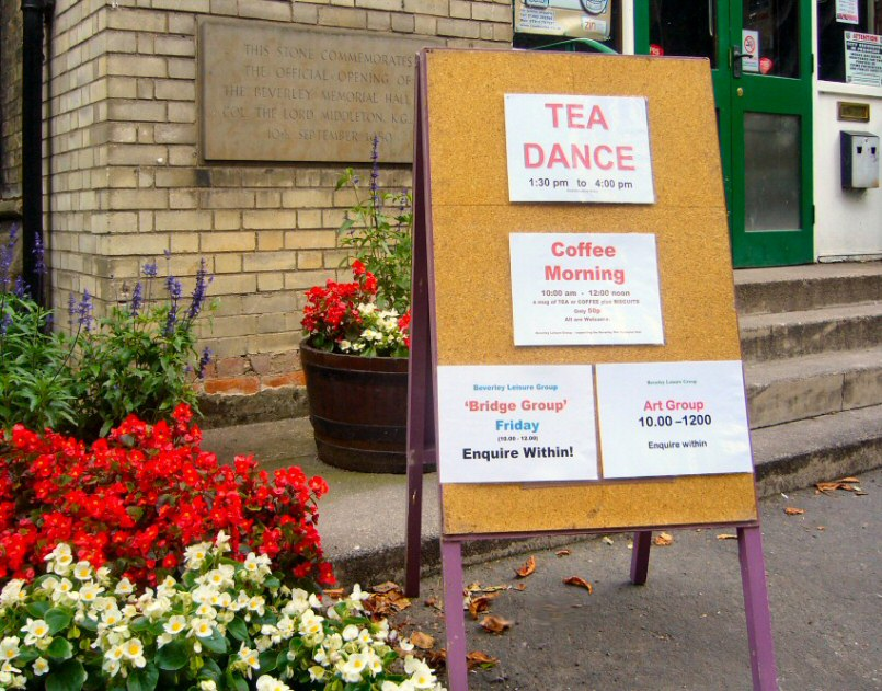 tea dance, coffee morning, bridge and art groups with beverley leisure group