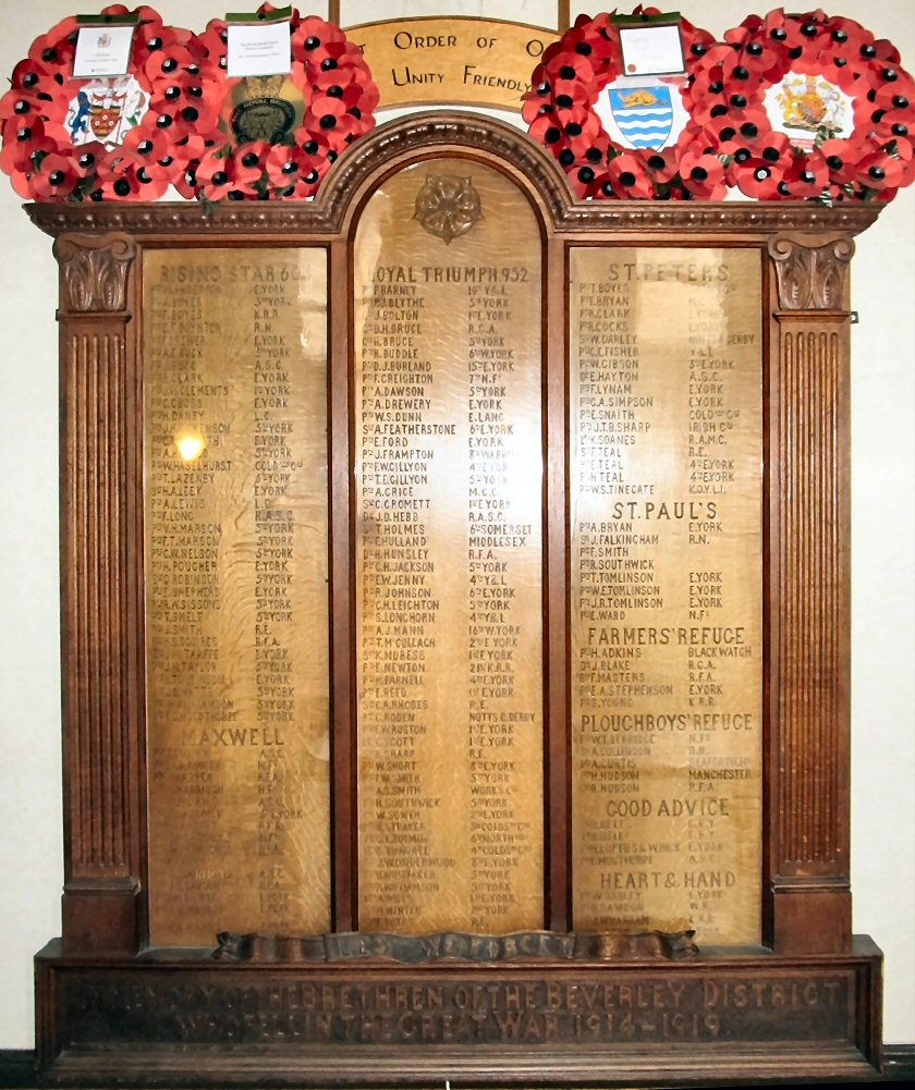 names of beverley men killed in war 1914-1919